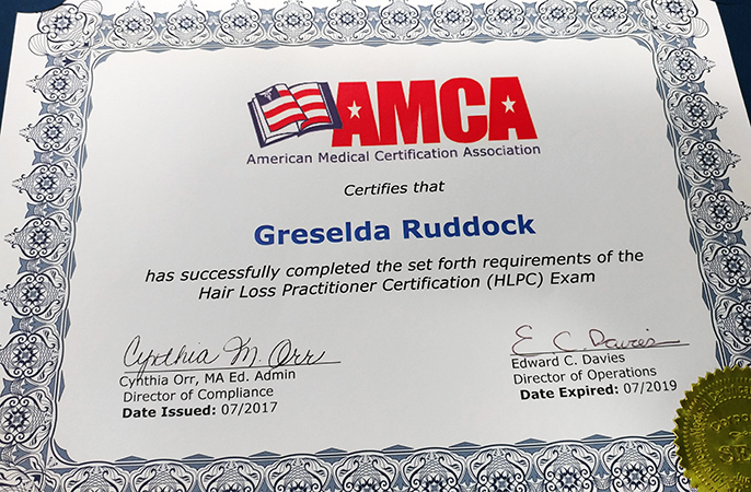 hair loss cert